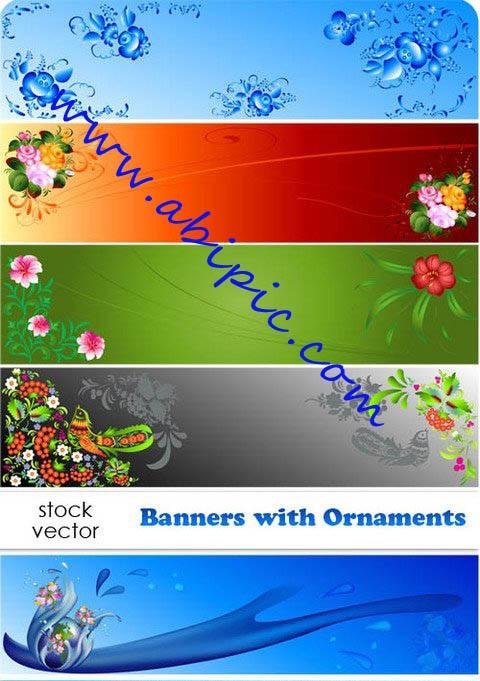 دانلود وکتور بنر با طرح گلدار Vectors Banners with Ornaments