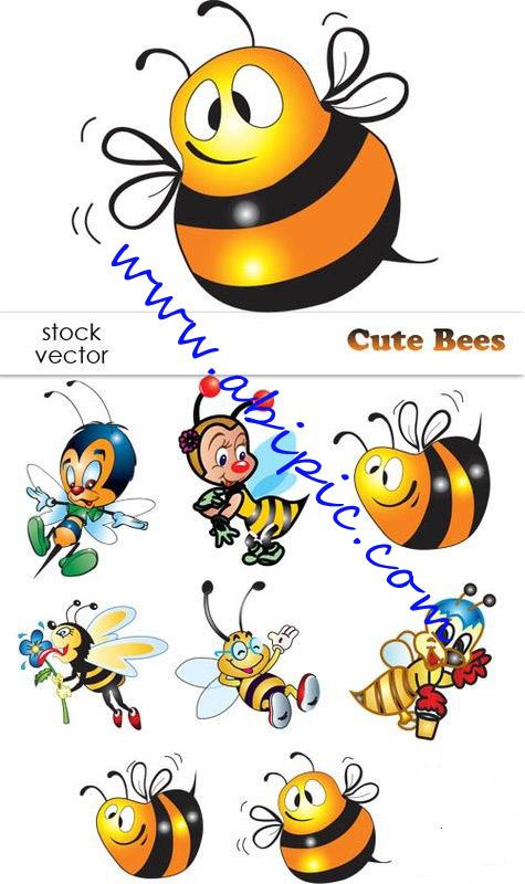 دانلود تصاویر وکتور زنبور عسل Vectors Cute Bees