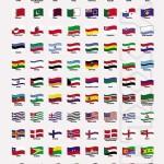 دانلود وکتور طرح موج دار پرچم کشورهای جهان Wavy world flags