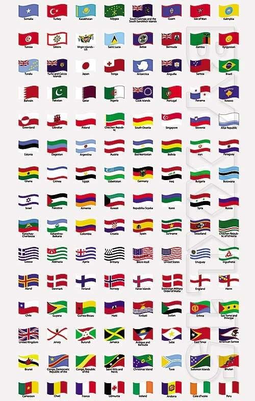 دانلود وکتور طرح موج دار پرچم کشورهای جهان Wavy world flags -
