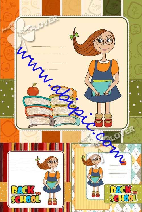 دنلود وکتور کارت های کودکانه با موضوع شروع مدرسه