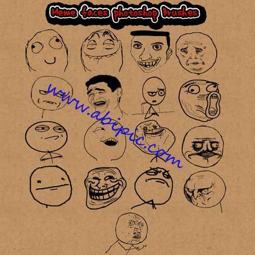 دانلود براش فتوشاپ حالتهای مختلف ترول Brushes Meme Faces