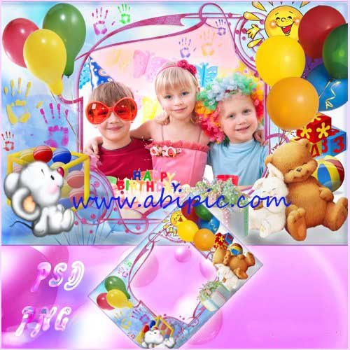دانلود قاب عکس لایه باز تولد Children's Picture Frame - Happy Birthday