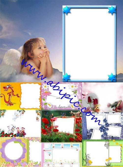 دانلود 12 فریم زیبای آتلیه کودک Spring Photo frames