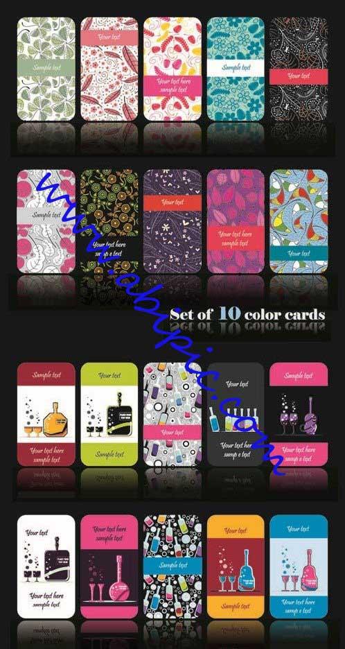 دانلود وکتور کارت های زیبا Creative Colorful Vector Cards