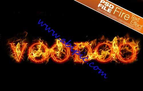 دانلود طرح لایه باز ساخت متن سوزان در فتوشاپ PSD Fire Text Effect