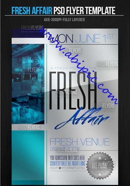 دانلود طرح لایه باز تراکت و پوستر تبلیغاتی Fresh Affair Party Flyer