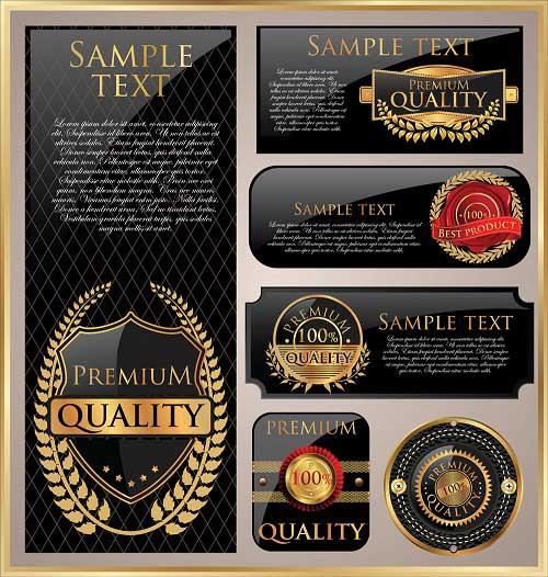 دانلود وکتور طلایی لیبل و برچسب کیفیت Golden premium quality labels