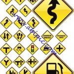 دانلود وکتور تابلو و علائم راهنمای جاده Road Signs Vector Set