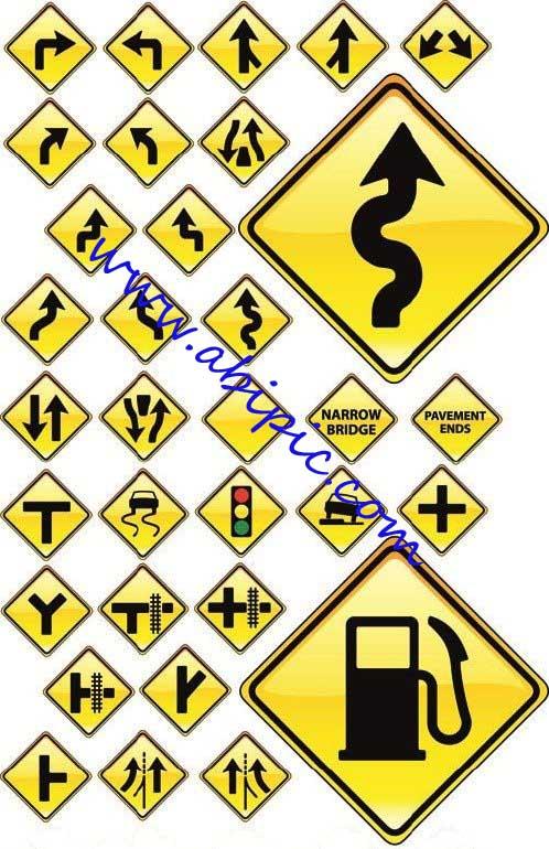نقاشی حاشیه گل دانلود وکتور تابلو و علائم راهنمای جاده Road Signs Vector ...