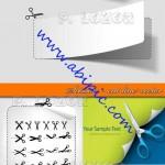 دانلود طرح وکتور قیجی و برش کاغذ Scissors cut line vector