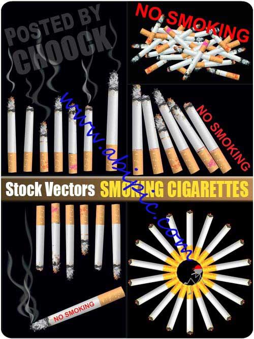 دانلود تصاویر استاک وکتور سیگار Smoking cigarettes Stock Vector