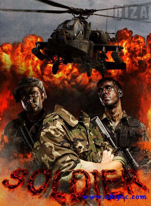 دانلود قالب عکس سرباز مونتاژ عکس آقایان photo of the montage Soldier