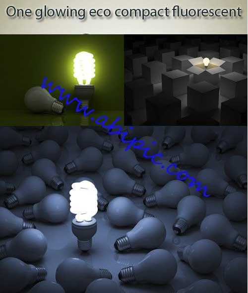 عکس استوک لامپ کم مصرف فلورسنت Stock Photo fluorescent light bulb
