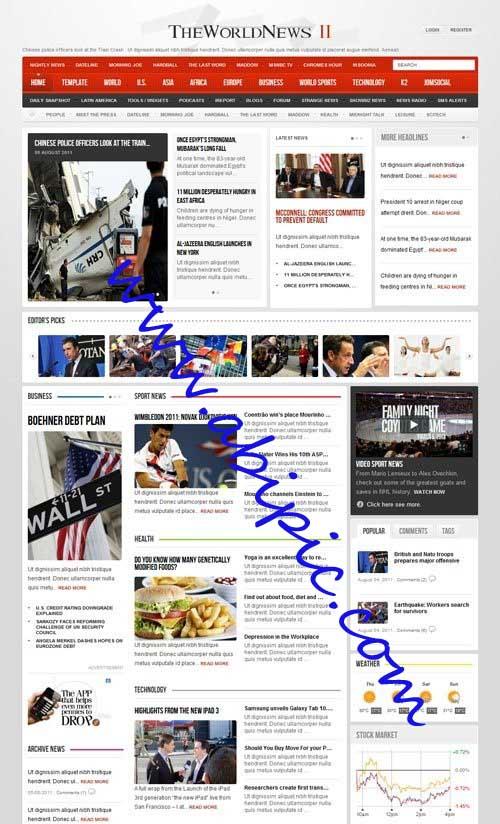 دانلود قالب سایت خبری The World News II v2.11 برای جوملا 2.5
