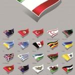 دانلود وکتور پرچم اران و کشورهای جهان Moving national flags vector