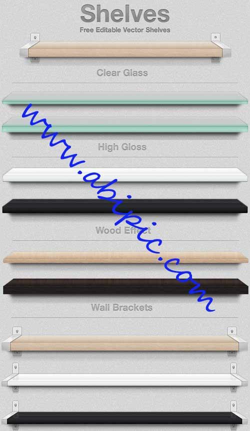 دانلود طرح لایه باز قفسه دیواری PSD Shelves