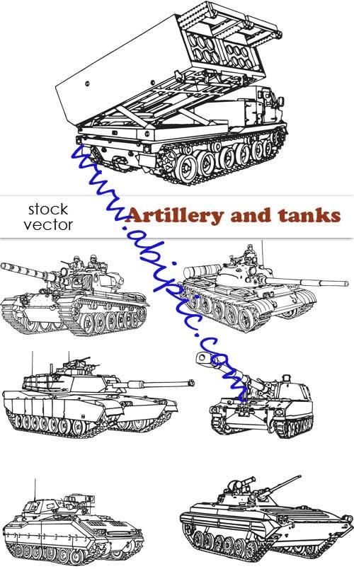 دانلود تصاویر وکتور نظامی تانک و توپخانه Vectors Artillery and tanks