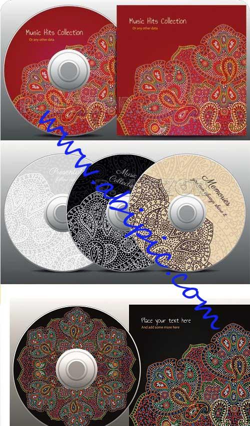 دانلود 3 وکتور زیبا برای کاور و طرح روی CD با طرح بته جقه