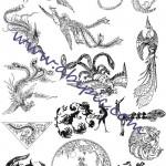دانلود وکتور سیمرغ پرنده آتش Vectors – Firebird Ornaments