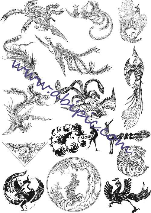 دانلود وکتور سیمرغ پرنده آتش Vectors - Firebird Ornaments