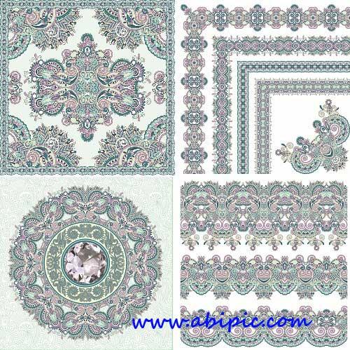 دانلود طرح وکتور کادر، قاب و حاشیه با طرح سنتی Floral Corners Borders Vector