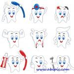 دانلود وکتور آیکون های بامزه دندان Vectors  Funny Teeth Icons
