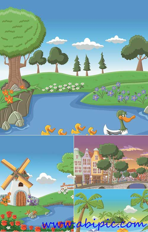 دانلود وکتور نقاشی منظره طبیعت Nature landscape lake vector