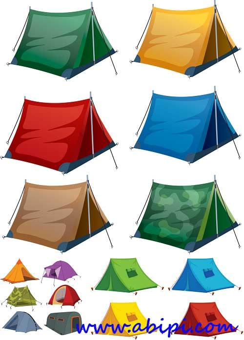 دانلود وکتور انواع مختلف چادر Vectors - Camping equipment