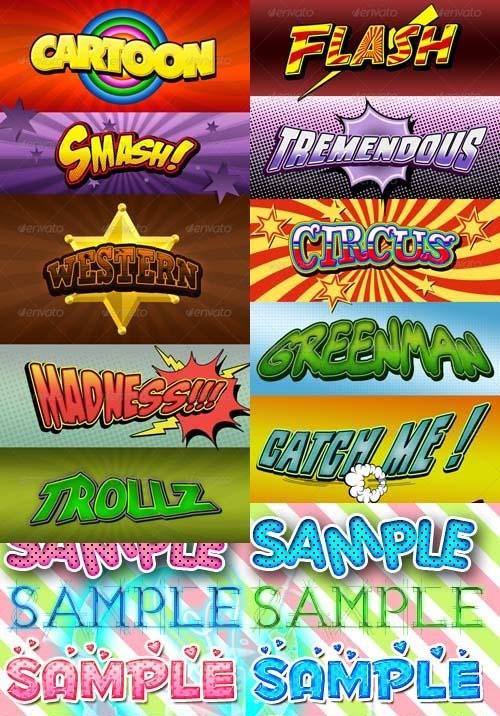 دانلود استایل های کمیک و کارتونی فتوشاپ Cartoon and Comic Tex Styles