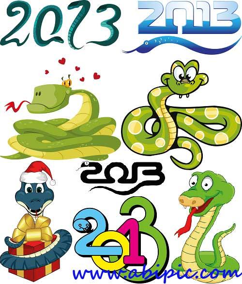 دانلود طرح های PNG سال 2013 با طرح مار Clipart Snakes and inscriptions