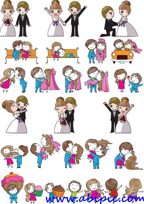 دانلود 2 طرح وکتور زیبا از عروس و داماد با طرح کارتونی و فانتزی