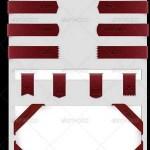 دانلود طرح لایه باز روبان قرمز GraphicRiver Ribbons PSD شماره 4