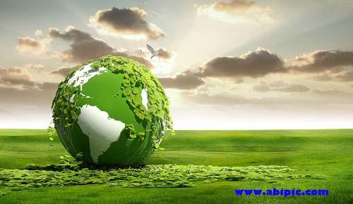 دانلود طرح لایه باز سیاره زمین در دشت سبز PSD Green Globe on the Field