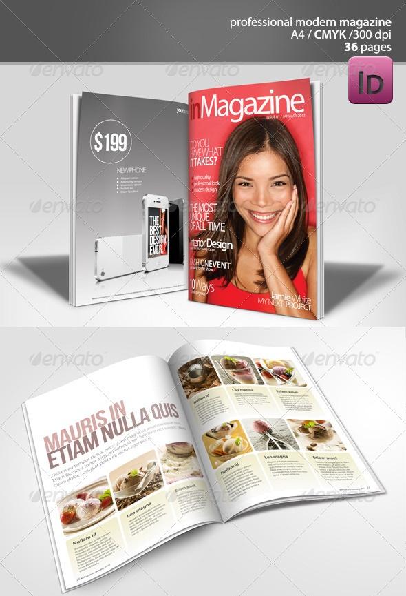 دانلود طرح ایندیزاین مجله 36 صفحه ای Modern Magazine 36 pages