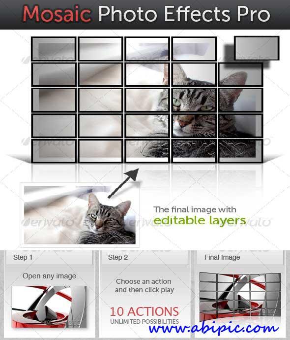 دانلود اکشن 10 افکت مختلف ساخت تصاویر موزائیکی Mosaic Photo Effects