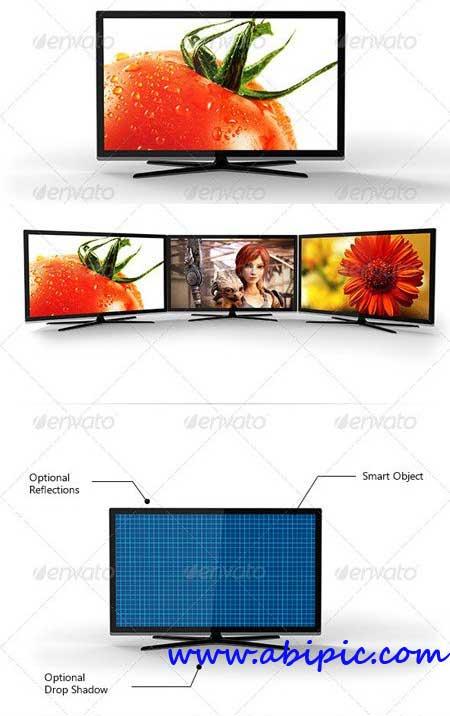دانلود طرح لایه باز LCD در 4 زاویه مختلف Photorealistic LCD Mock-Up