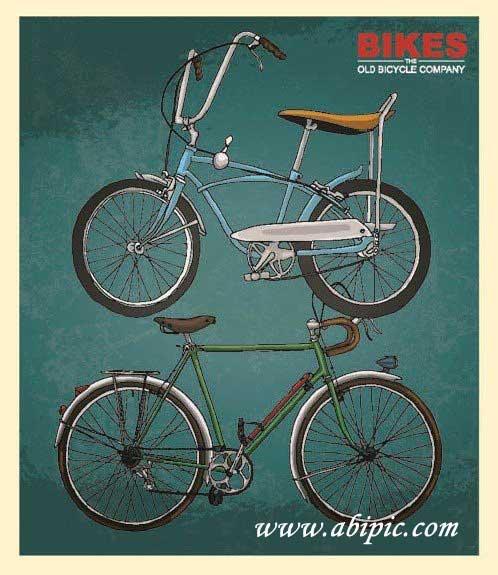 دانلود طرح وکتور دوچرخه های قدیمی Retro Bicycles Vector Set