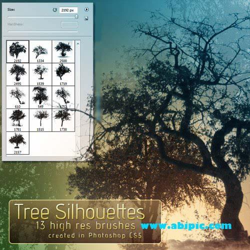 دانلود 13 براش درخت در فتوشاپ Tree silhouette brushes
