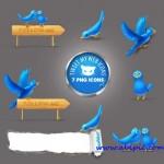 دانلود طرح لایه باز آیکون های متنوع تویتر Twitter Icons PSD