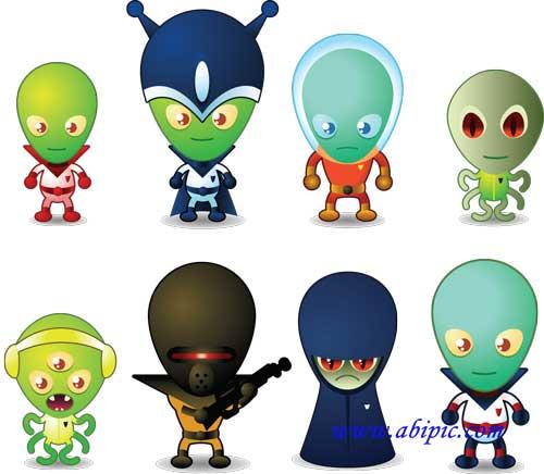 دانلود تصاویر وکتور بامزه از آدم فضایی ها Vectors  Funny Aliens