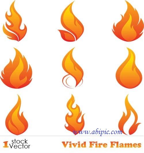 دانلود تصاویر وکتور شعله و آتش Vivid Fire Flames Vector