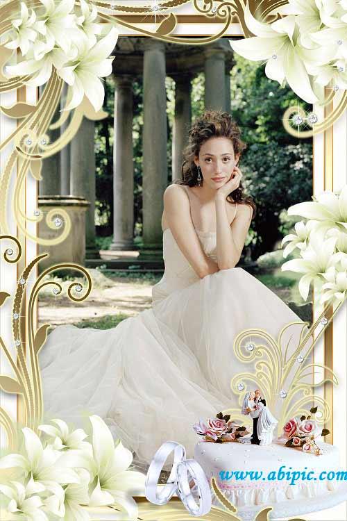 دانلود قاب عکس لایه باز حرفه ای عروسی Wedding frame for a photo