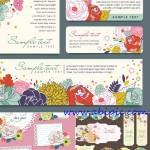 دانلود وکتور انواع مختلف کارت پستال Floral greeting cards