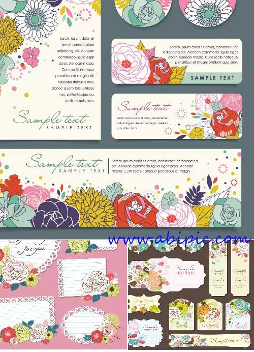 دانلود وکتور انواع مختلف کارت تبریک Floral greeting cards