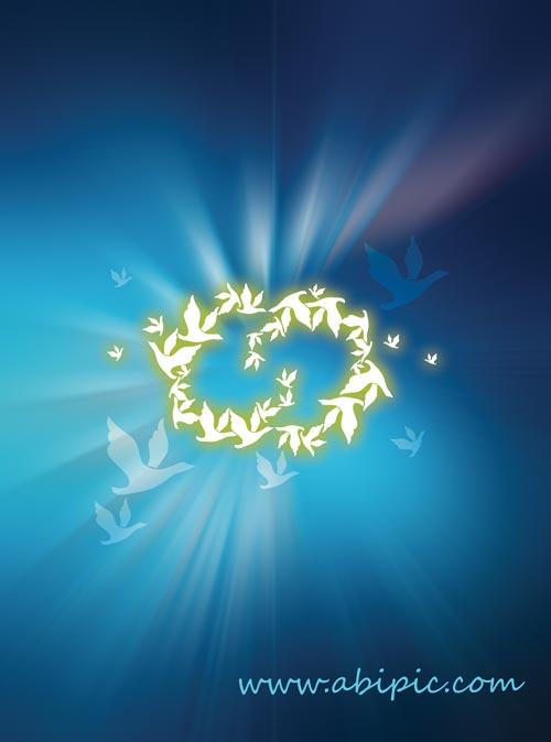 دانلود طرح لایه باز حلقه نورانی پرواز پرندگان در آسمان