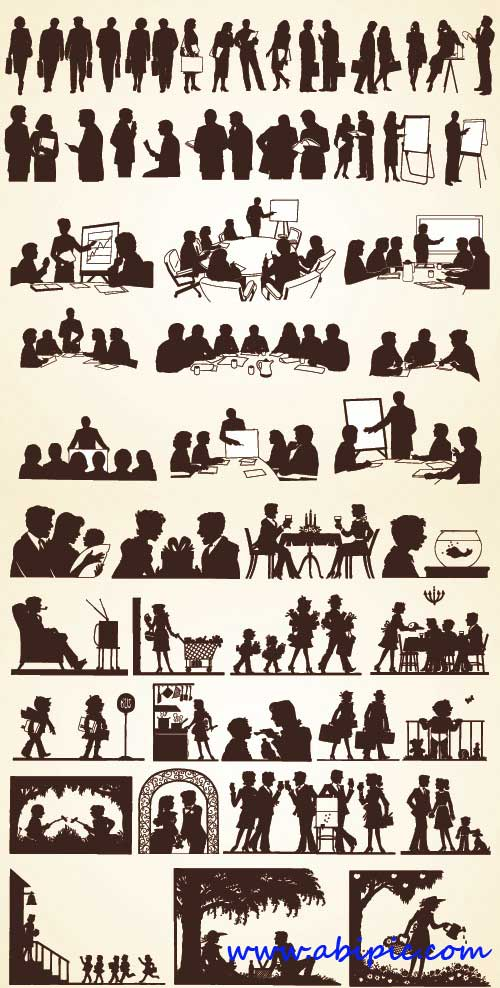 دانلود تصاویر وکتور سیاه و سفید مردم در حالتهای مختلف People silhouettes