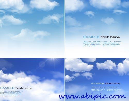 دانلود وکتور آسمان آبی و ابر Background with blue sky and clouds