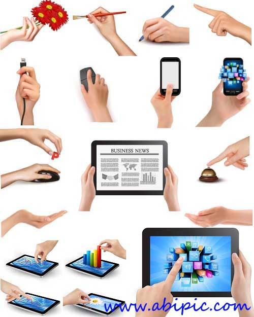دانلود وکتور ابزارهای مختلف در دست Human hand with different objects