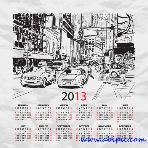دانلود طرح وکتور تقویم سال 2013 میلادی Calendar 2013 template